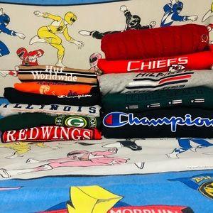 All Embroidered crewnecks and shirts
